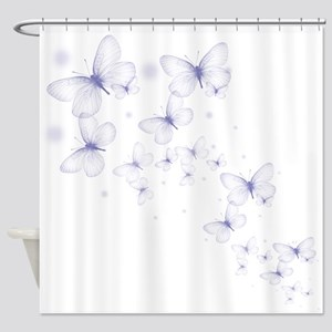 Pruple Transparent Butterfly Shower Curtain
