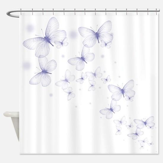 Pruple Transparent Butterfly Shower Curtain