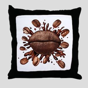 Coffee Lips Throw Pillow