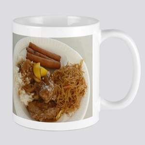chicken adobo,pancit and lumpia Filipino meal Mugs