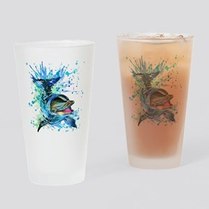 Watercolor Dolphin Drinking Glass