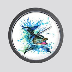 Watercolor Dolphin Wall Clock