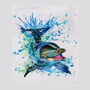 Watercolor Dolphin Throw Blanket