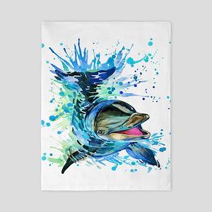 Watercolor Dolphin Twin Duvet