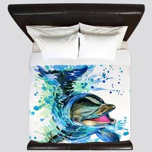 Watercolor Dolphin King Duvet