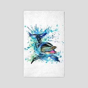 Watercolor Dolphin Area Rug