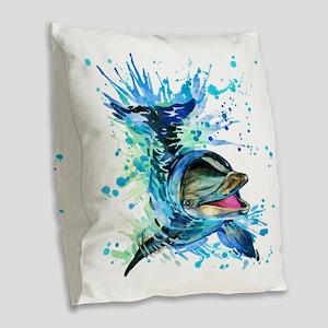 Watercolor Dolphin Burlap Throw Pillow