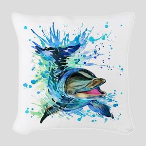 Watercolor Dolphin Woven Throw Pillow