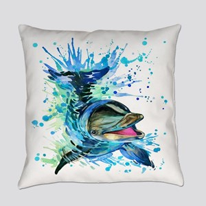Watercolor Dolphin Everyday Pillow