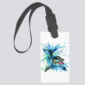 Watercolor Dolphin Large Luggage Tag