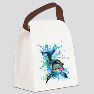Watercolor Dolphin Canvas Lunch Bag