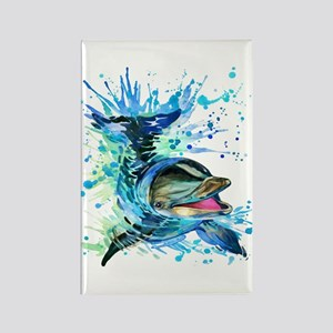 Watercolor Dolphin Rectangle Magnet