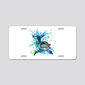 Watercolor Dolphin Aluminum License Plate