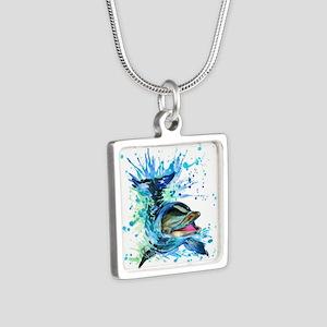 Watercolor Dolphin Silver Square Necklace