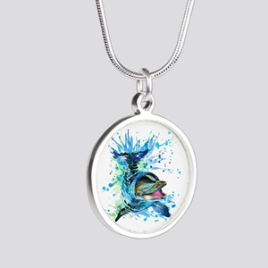 Watercolor Dolphin Silver Round Necklace
