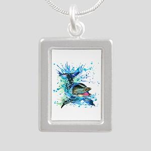 Watercolor Dolphin Silver Portrait Necklace