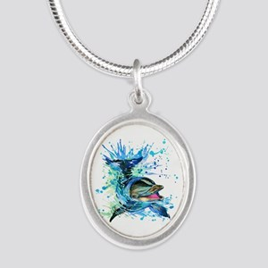 Watercolor Dolphin Silver Oval Necklace