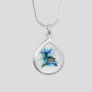 Watercolor Dolphin Silver Teardrop Necklace
