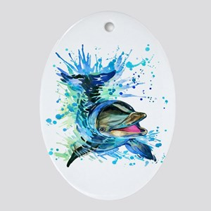 Watercolor Dolphin Oval Ornament
