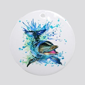 Watercolor Dolphin Round Ornament
