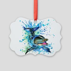 Watercolor Dolphin Picture Ornament
