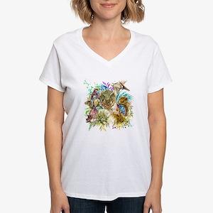 Dinosaur Collage Women's V-Neck T-Shirt