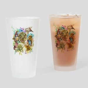 Dinosaur Collage Drinking Glass