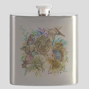 Dinosaur Collage Flask