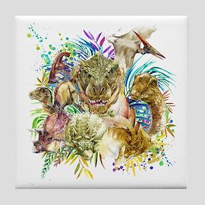Dinosaur Collage Tile Coaster