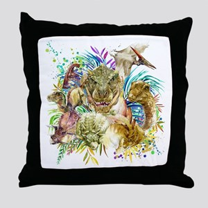 Dinosaur Collage Throw Pillow