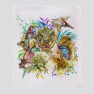 Dinosaur Collage Throw Blanket