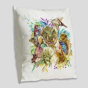 Dinosaur Collage Burlap Throw Pillow
