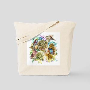 Dinosaur Collage Tote Bag