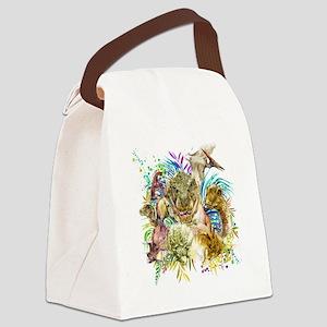 Dinosaur Collage Canvas Lunch Bag