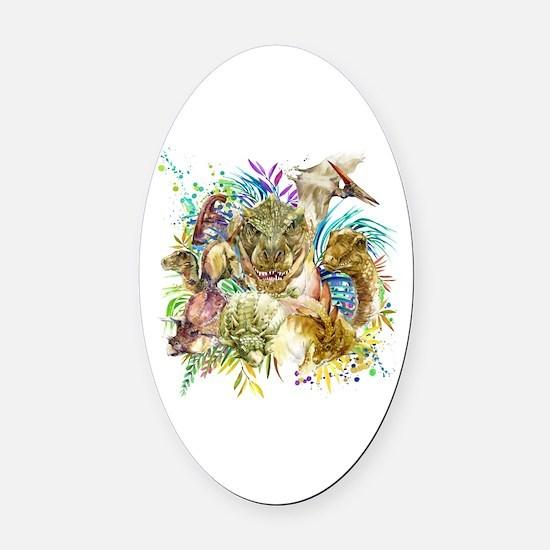 Dinosaur Collage Oval Car Magnet
