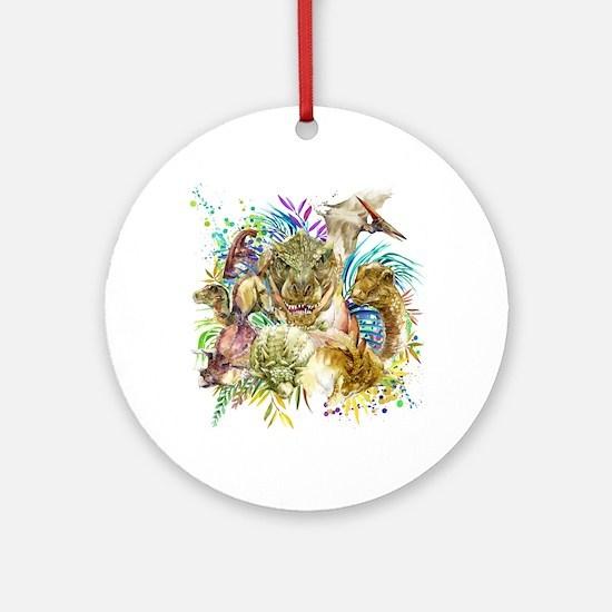 Dinosaur Collage Round Ornament