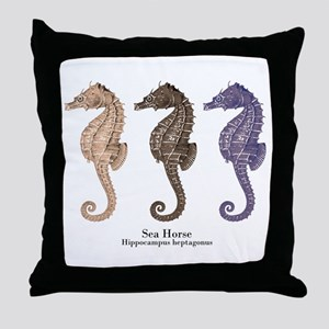 Sea Horse Vintage Art Throw Pillow