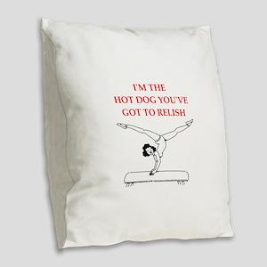 gym Burlap Throw Pillow