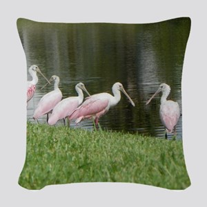 SPOONBILLS AT THE LAKE Woven Throw Pillow
