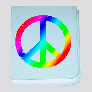 Distressed Peace Peace sign Rainbow baby blanket