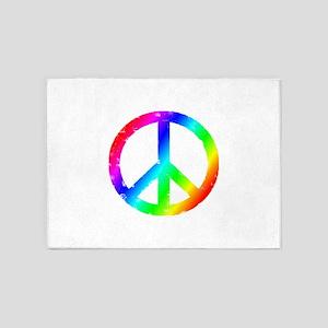 Distressed Peace sign 5'x7'Area Rug