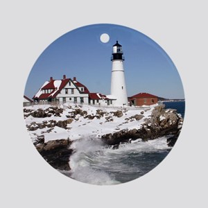 Portland Head Light.png Round Ornament