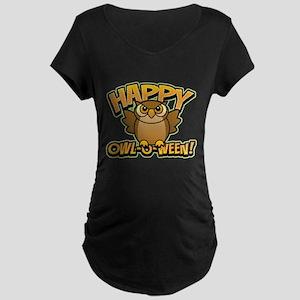 Happy Owl-O-Ween Maternity Dark T-Shirt