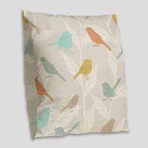 Pretty Birds Burlap Throw Pillow