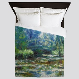 Pond & Japanese Bridge Monet Queen Duvet