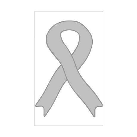 Gray Ribbon Rectangle Sticker
