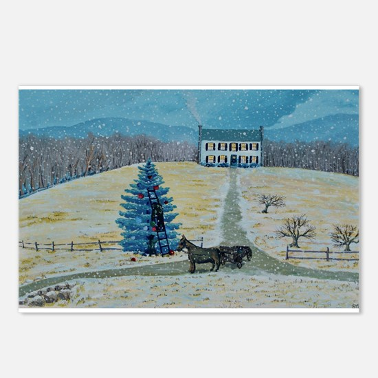 A New England Farm at Christmas Postcards (Package