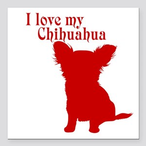 "I Love my Dog Square Car Magnet 3"" x 3"""