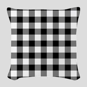 Black White Gingham Woven Throw Pillow
