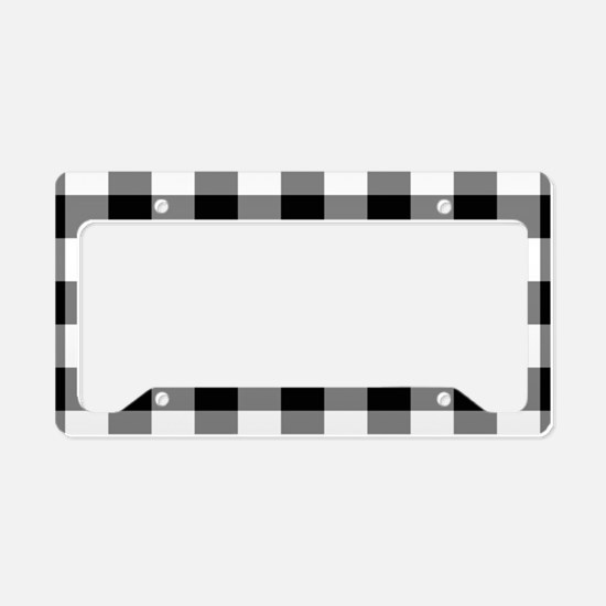 Black White Gingham License Plate Holder